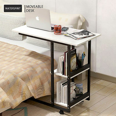 Warm White Movable Work Desk Wheels 2 Layers Writing Computer Stand Rectangle