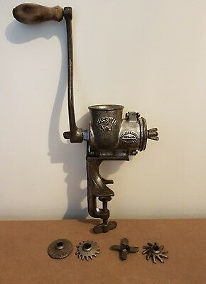 Vintage Russwin No.1 Meat Grinder Hand Crank With Attachments Russell Erwin