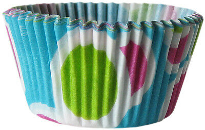 Cupcake Creations Blue Fiesta Paper Cake Baking Cases Pack of 32 Standard Size