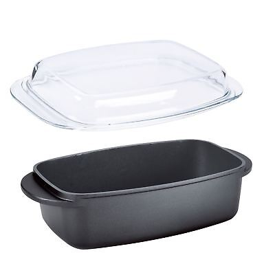 32Cm Non Stick Roasting Pan Baking Dish With Glass Lid Roaster Oval Oven New
