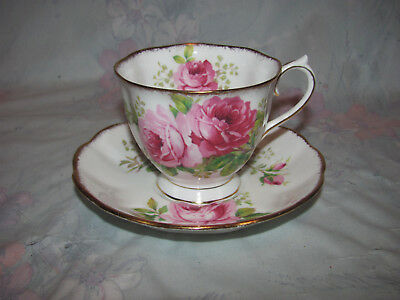 Vintage Royal Albert Tea Cup and Saucer, American Beauty, Roses with Gold