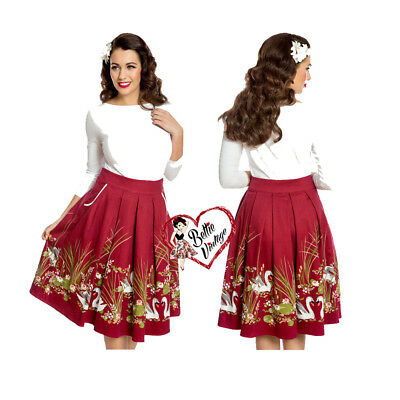 9bc76d925e22 Lindy Bop Vintage Daniella Wine Swan Border 50s Print Rockabilly Swing Skirt