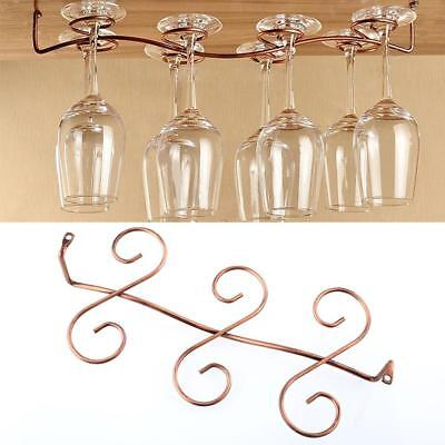 6 Wine Glass Rack Stemware Hanging Under Cabinet Holder Hanger Bar Display