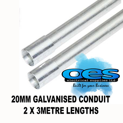 20mm Galvanised  Metal Conduit Tube 3 Metre Length Heavy Gauge Galv (pack of 2)