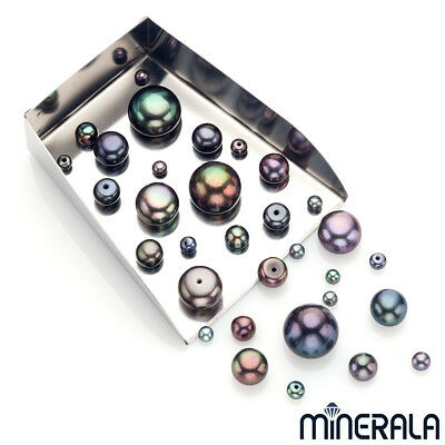 [Wholesale] Natural Freshwater Peacock Black Pearl Round Fb Half Drilled