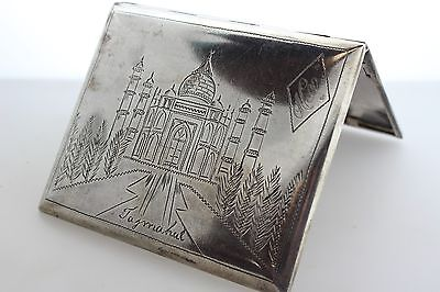 Antique Sterling Silver Cigarette Box w/ Hand Engraved Taj Mahal & India Map