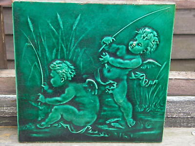 Rare STEELE AND WOOD  8 '' Square Relief Tile, circa 1880.