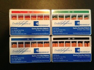4 new packs of Endosequence Gutta Percha points. Ass. sizes taper .06.