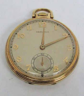 Antique Hamilton 14K Gold Filled Pocket Watch Working