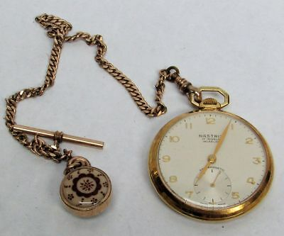 Vintage Nastrix 17 Jewels Pocket Watch Antique Watch Chain And Fab Working