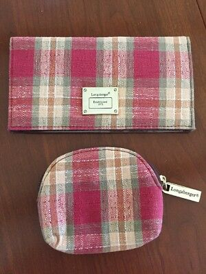 LONGABERGER Plaid Checkbook Cover & Coin Purse Never Used