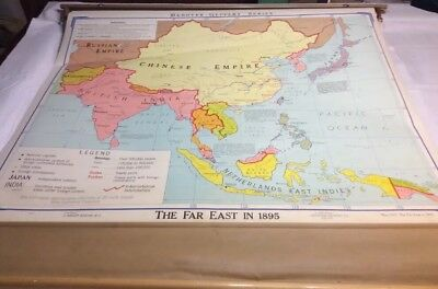 """VINTAGE 1969 Denoyer-Geppert Pull Down School Map """"The Far East in 1895"""" 03063A"""