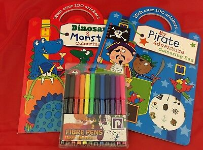 Pirate Colouring Book, Dinosaurs & Monsters Book & stickers with free Felt Pens!