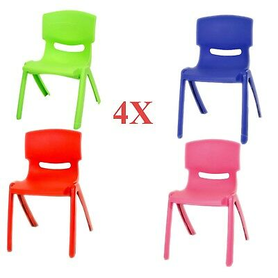 4X Childrens Kids Plastic Strong Chairs Nursery Sets Indoor Use Unisex Gift