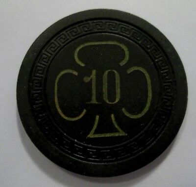 Clover Club Hollywood Ca Bugsy Siegel Poker Chip Obsolete Authentic Vintage Old