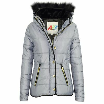 Girls Jacket Kids Silver Padded Puffer Bubble Fur Collar Quilted Warm Thick Coat