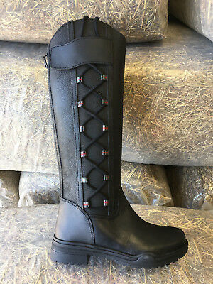 HORSE RIDING YARD COUNTRY BOOTS LEATHER sizes 4 - 8 adult UK black or brown