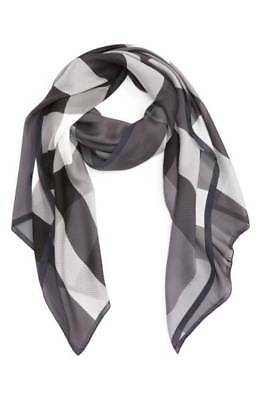 Burberry Mega Check Silk Scarf Black White Gray Classic Rectangle Lightweight