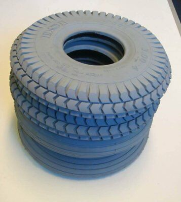 1 Set of 4 Tyres 260x85 3.00-4 Grey Mobility Scooter Tyre 300x4 2 Block 2 Rib