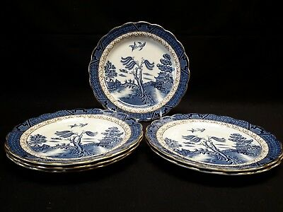 Booths Real Old Willow A8025 Set of 6 Luncheon Plates