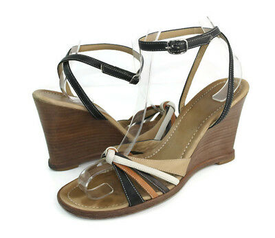 5acf72d7495a Coach Trista Women s Multi-Color Leather Strappy Wedge Sandals US Size 6.5 B