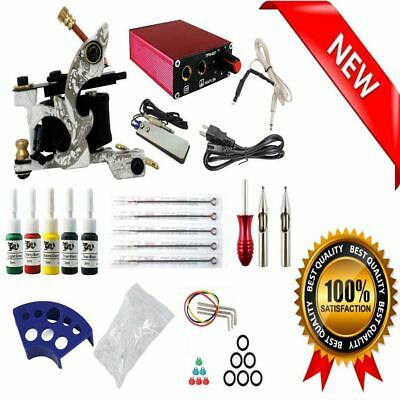 Complete Professional Tattoo Set Machine Gun Kit Needles Ink Color Power Supply
