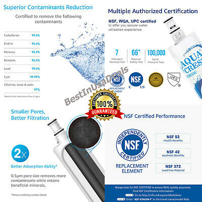 Refrigerator Replacement Water Filter for Whirlpool PUR W10186668 Kenmore 469010
