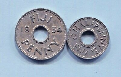 Fiji -  Two Great Historical 1934 George V Coins: Rare Half Penny & Penny