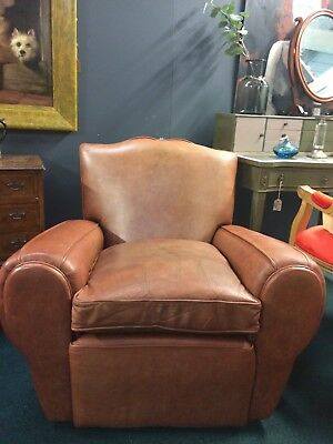 Vintage Leather French Club Chair