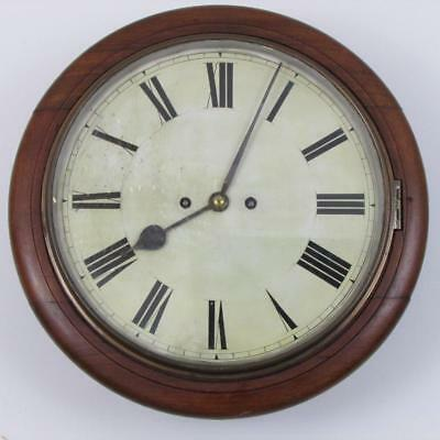 ANTIQUE RAILWAY DIAL CLOCK twin fusee GONG STRIKE good working order