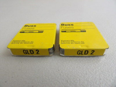 Lot of 10 Buss GLD2 Fuses 2 Amp 125 Volt Bussmann Fast Acting 2 Boxes of 5 Each