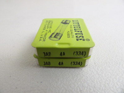 Lot of 10 Littlefuse 3AB-4A Fuses 4 Amp 125 Volt 334004 2 Boxes of 5 Each