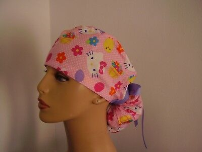 Ponytail Surgical Scrub Hat - Hello Kitty Easter