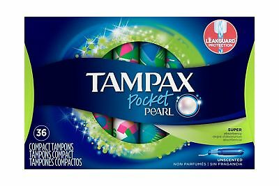 Tampax Compact Plastic Tampons, Super Absorbency - Unscented - 36 Ct