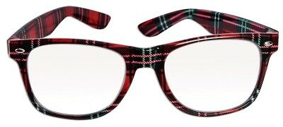 PLAID FUNNY NERD GEEK GLASSES Eye Dork Clear Lenses Joke Gag Toy Plastic Tartan
