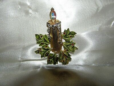 Vtg ANTIQUE Brooch Pin Art Deco or Victorian Parure Candlestick AB Setting 2 3/8