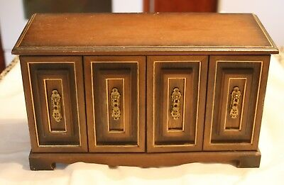 large vintage wood jewelry box/ chest 6 drawers, folding doors, neat