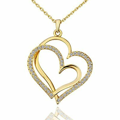 18K Gold Plated Heart Pendant Necklace with Swarovski crystal double heart gift