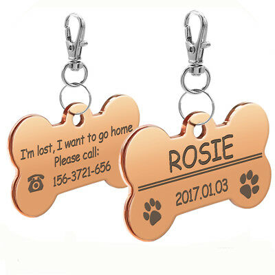 Stainless Steel Bone Shape Dog Tags Personalized Engraved Doggie ID Name Tag