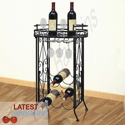 9 Bottle Metal Wine Rack Holder Storage Wine Table Glass Hooks Black Bar