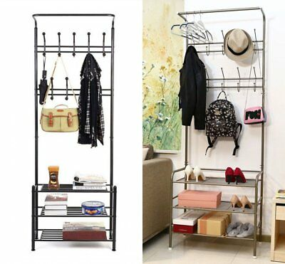 Metal Coat Hat Bag Clothes cloth Shoe Rack Stand Shelf Garment Hanger Hooks New