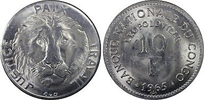 1965 CONGO DEMOCRATIC REPUBLIC 10 Ten Francs KM-1 PCGS MS64 - Rare!