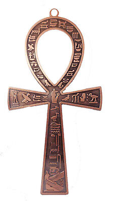 "Egyptian Ankh 7"" Brass Wall Hanging Engraved Cross key of Life Hieroglyphics 213"