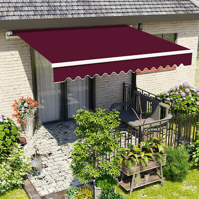 2.5x2M Wine Red Manual Awning Retractable Patio Canopy Garden Sun Shade Outdoor