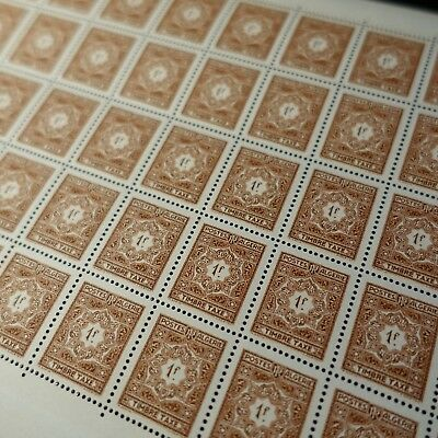 FEUILLE SHEET ALGERIA STAMP TAX N°37 x50 1957 NEUF LUXE MNH