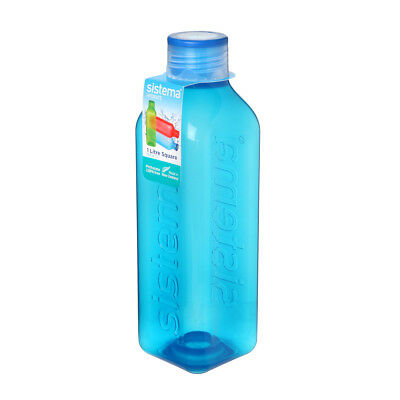 Sistema Hydrate 1L Square Drink Bottle, Blue Water Juice Work Travel School