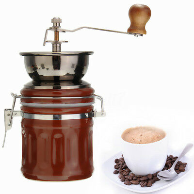 Vintage Ceramic Manual Coffee Beans Mill Nut Spice Hand Grinder Stainless Steel