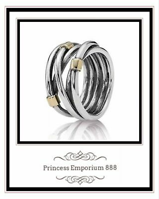 RETIRED Genuine Authentic Pandora Woven Silver & Gold Rope Ring item 190383-54