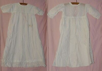 2 Antique Fine White Cotton Baby Nightdresses With Embroidered Decoration