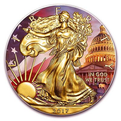 1 oz Silver Patriotic American Eagle Colorized and Gold Gilded Coin Golden Noir
